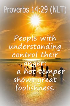 Proverbs (NLT) -People with understanding control their anger; a hot temper shows great foolishness. Knowledge And Wisdom, God's Wisdom, Bible Proverbs, Bible Promises, Fathers Love, Faith Prayer, Favorite Bible Verses, Praise God