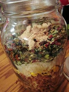Dry Onion Soup Mix: 2/3 c. dried, minced onion, 3 tsp. parsley flakes, 2 tsp. onion powder, 2 tsp. turmeric, 1 tsp. celery salt, 1 tsp. sea salt, 1 tsp. sugar, 1/2 tsp. ground pepper --- Mix all ingreds. in a jar, then give the jar a good shake. Mix well before each use. ---Use 4 Tbsps. in a recipe in place of 1 packet of onion soup mix. Store this in a dry, cool place.