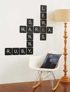 Spell out your names with these fabulous scrabble letters! (Wallstickers by Not On The High Street.)