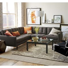 Love the couch but ALSO the 2 layered rug idea!!  | Crate and Barrel