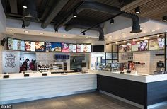 """Fast-food restaurant chain KFC is launching a radical new design concept, which it says represents """"the future of interior design for KFC"""". Kfc Restaurant, Restaurant Counter, Vintage Restaurant, Restaurant New York, Robot Restaurant, Industrial Restaurant, New Interior Design, Restaurant Interior Design, Cafe Interior"""