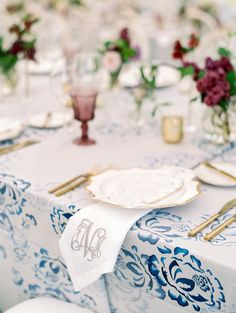 Each place setting was graced with a keepsake napkin, all beautifully hand-embroidered by Mitchell's aunt. Those weren't the only statement linens, though. A blue watercolor pattern was digitally printed onto the tablecloths. Wedding Linens, Wedding Napkins, Wedding Tablecloths, Reception Table, Wedding Reception, Blue Wedding, Wedding Bells, Wedding Decor, Dream Wedding