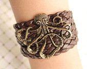 anchor bracelet,retro anchor pendant bracelet,brown leather bracelet---B003. $2.89, via Etsy.