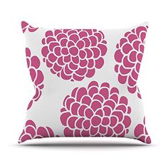 KESS InHouse PG1074COP03 18 x 18-Inch 'Pom Graphic Design Raspberry Blossoms Magenta Pink' Outdoor Throw Cushion - Multi-Colour *** Be sure to check out this helpful article. #GardenFurnitureandAccessories