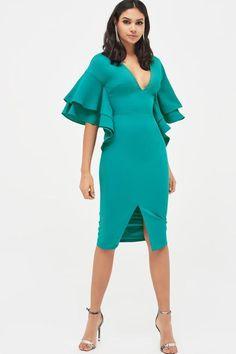d4c321be64a437 Lavish Alice Jade Green Exaggerated Double Frill Sleeve Woven Midi Dress   LA-11038-