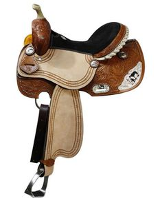 Double T Barrel style saddle with praying cowboy silver accents. This saddle features floral tooling on skirt, pommel and cantle. Rough out fenders and jockey feature barbwire boarder tooling. Silver