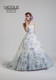 8f099c96d70d9 NC-9410B - NICOLE カラードレス - 花柄ジャガードにナチュラルなバラの