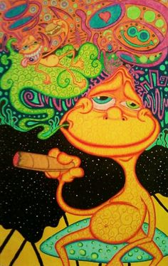 ☯☮ॐ American Hippie Bohemian Psychedelic Art ~ Frog on a Trip