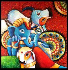 "Saatchi Art Artist Sonali Mohanty; Painting, ""The Divine Four"" #art"