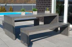 Modernes rustikales Gartenmöbel Set Sitzgruppe MODERNA aus Fiberzement, Terrassenbild #Gartenmöbel #Beton