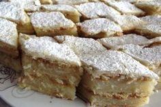 Prajitura cu foi si crema de gris cu lamaie (de post) Romanian Food, Romanian Recipes, Apple Pie, Fudge, Vegan Recipes, Vegan Food, French Toast, Muffins, Recipies