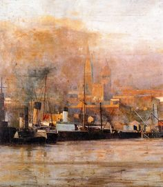 Melbourne in Frederick McCubbin February 1855 – 20 December was an Australian painter who was prominent in the Heidelberg School, one of the more important periods in Australia's visual arts history. Australian Painting, Australian Artists, Impressionist Artists, Impressionism Art, Art Nouveau, Vintage Artwork, Ship Art, Art History, History Photos