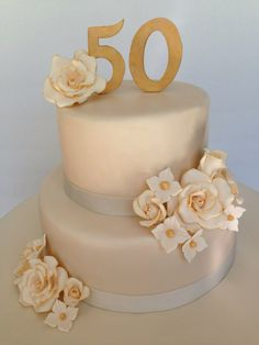 50th wedding anniversary cake, simple yet elegant!