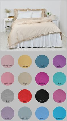 Made of soft 100% cotton, high quality sateen fabric, 250 Thread Count Turkish Cotton  This listing is for 1 piece of 3 side ruffled duvet cover, button closure at the bottom. Also, its available in dusty pink, sugar pink, gray, lilac, mustard yellow, red, pale mint, teal, fuchsia, black, blue, violet, mint, pink, turquoise, white, ivory. Duvet Cover:  Twin 68 W x 88 L (170x220cm) Twin XL 68 W x 90 L (170x230cm) Full/Double 80 W x 88 L (200x220cm) Full 80 W x 80 L (200x200cm) Full/...
