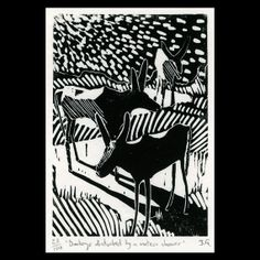 Donkeys Disturbed By A Meteor Shower linocut print - hand printed - black and white via Etsy