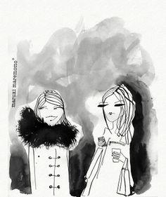 """Girls"" by Maruki Maremotto* • Find more artworks at www.facebook.com/marukimaremotto ★|| #illustration #art # || ★"