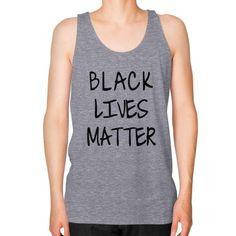 Black Lives Matter Unisex Fine Jersey Tank (on man) Shirt - Fonts Black