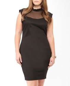 Mesh Yoke Bodycon Dress | FOREVER21 PLUS - 2000048592