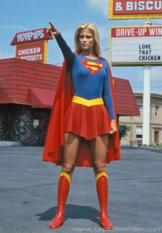 Great article about the lack of belief in female super heroes. Costume-Supergirl: blue bodysuit, red skirt, boots, and cape
