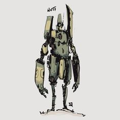 Come here if you have a mecha addiction, or you want to have a mecha addiction ^_^. Gareth Davies, Story Drawing, Robots Characters, Robot Concept Art, Science Fiction Art, Machine Design, Tecno, Character Design References, Sci Fi Art