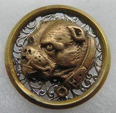 Antique Metal Button Bulldog | eBay
