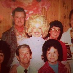 """Dolly Parton ...Taken during the recording of APPLEJACK for the NEW HARVEST-FIRST GATHERING RCA VICTOR APL1-2188 @1977 which won Dolly the AMA awards """"COUNTRY ALBUM OF THE YEAR'. Top row: Robert """"Lee"""" Parton, Dolly, Avie Lee Parton. Bottom row: Roy Acuff and Kitty Wells."""
