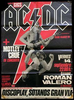 Póster del concierto que AC/DC suspendieron en 1984 en Madrid dentro de Flick Of The Switch Tour y que regalaba #discoplay #flickoftheswitchtour @ACDC #ACDC #LiveInConcert