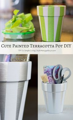Use chalk paint and metallic spray paint to recycle an old clay pot. Great desk accessory! | americana decor chalky finish
