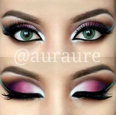 Love. Pink, plum, brown, white shadow with a pop of bright blue liner for the wing.