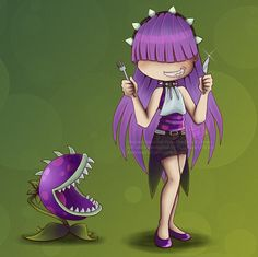 PvZ: Chomper by SiaRyzh on DeviantArt Hero Academia Characters, Cartoon Characters, Fictional Characters, Plants Vs Zombies Drawing, Zombie 2, Old Cartoons, All Plants, Aesthetic Art, Chibi