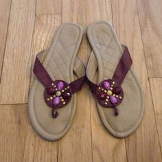 Plum Flip Flop Sandals - Small (5/6) Plum/Dark Purple Flip Flop Sandals - Small (5/6). Worn a handful of times but still in good condition... See pictures for details. Shoes Sandals