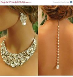 champagne jeweled bib necklaces | Wedding jewelry set, Bridal back drop bib necklace and earrings ...