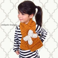 Girls Crochet Scarf Chunky Wool Scarf Orange by BellaJulieBoutique