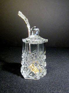 1885 DOMINICK & HAFF STERLING SILVER LADLE & ANTIQUE CUT GLASS MUSTARD POT #1885DOMINICKHAFF
