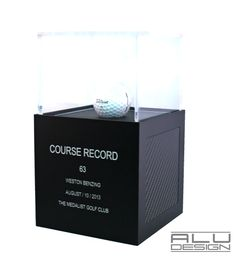 COURSE RECORD Low Round Golf Ball Display Trophy Case Anodized Black Aluminum with Black Carbon Fiber look. Modern Golf Ball Display. Designed and Manufactured in San Diego California USA by ALU DESIGN modern golf accessories