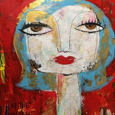 I am the moment Acrylic Mixed Media Portrait by AlteredbyThelma Abstract Faces, Abstract Portrait, Portrait Art, Portraits, Portrait Acrylic, Illustration Photo, Acrylic Artwork, Art N Craft, Whimsical Art