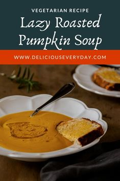 This ultimate lazy roasted butternut pumpkin soup is what I turn to when I'm feeling under the weather. It's easy peasy and it really makes me feel better! Easy Vegan Dinner, Vegetarian Recipes Dinner, Vegan Dinners, Vegan Recipes, Roasted Pumpkin Soup Recipe, Roast Pumpkin Soup, Vegan Christmas, Christmas Recipes, Vegetarian Meal