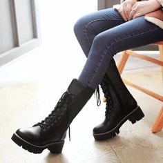 WomenS Winter Warm Boots Platform Zipper Mid Calf Boots Thick Heels Lace Up Pu Leather Woman Shoes Plus Size Warm Boots, Snow Boots, Thick Heels, Chunky Heels, Platform Block Heels, Mid Calf Boots, Lace Up Shoes, Fashion Boots, Black Boots