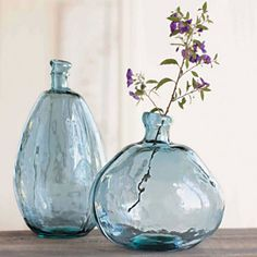 Recycled Glass Balloon Vases - Smoky Blues Collection | VivaTerra