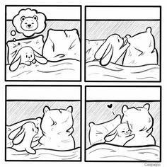 Cute Couple Comics, Couples Comics, Bunny And Bear, Cute Bears, Love Can, Funny Comics, Cupid, Comic Strips, Cute Couples