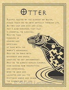 OTTER Poster Parchment Page Spirit Guide Wicca Parchment Book of Shadows BOS element of water Otter Tattoo, Otter Love, Animal Spirit Guides, Otter Spirit Animal, Muster Tattoos, Pagan Witch, Witches, Jolie Photo, Leiden