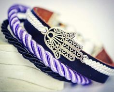 Handmade leather bracelet with chamsa and cord