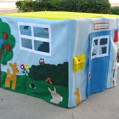 Kids would LOVE this! A playhouse that goes over a card table - easy to put away when they're done for the day.