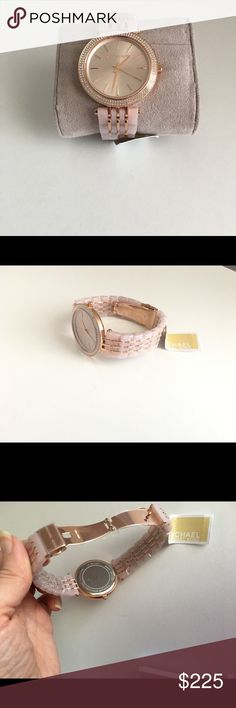 Michael Kors Darci Watch blush acetate and rose gold-tone links. Case Size 39 mm Case Thickness 7 mm Band Width 14 mm Water Resistant 5 ATM New with box KORS Michael Kors Accessories Watches