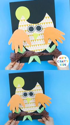 Bobble Handprint Owl Craft Create a super cute Owl with bobble handprint wings. A fun, simple and interactive Autumn craft that kids will love! Kids Crafts, Cheap Fall Crafts For Kids, Fall Crafts For Toddlers, Easy Fall Crafts, Owl Crafts, Tree Crafts, Animal Crafts, Toddler Crafts, Preschool Crafts