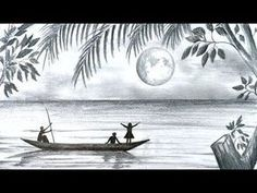How to draw scenery of Moonlight night scene with pencil sketch step by step (easy drawing video) - Watch Video - Art Ideas Scenery Drawing Pencil, Pencil Sketches Landscape, Pencil Sketches Easy, Shading Drawing, Pencil Sketch Drawing, Landscape Drawings, Pencil Art Drawings, Cool Landscapes, Art Sketches