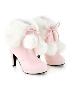 f1b0bdbc79c7 Lovely Pointed Toe Furry PU Woman s High Heel Booties - Milanoo.com Lacer