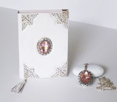 Pink White Diary and Pink Pendant Necklace Set of two, Leather Notebook for Women, Girls Pearl Pendant, Pendant Necklace, Leather Photo Albums, Leather Bound Journal, Leather Diary, Notebook Art, Pink Pendants, Leather Notebook, Necklace Sizes