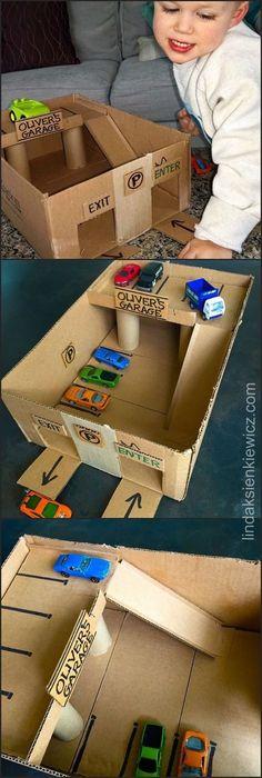 DIY Cardboard toy car garage, I really like dealing with cardboard. Cardboard sneaks into you, Infant Activities, Preschool Activities, Games For Kids, Diy For Kids, Kids Fun, Kids Boys, Spy Kids, Toddler Crafts, Crafts For Kids