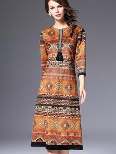 Beautiful Round Neck 7-Point Print Beading Maxi Dresses - oshoplive